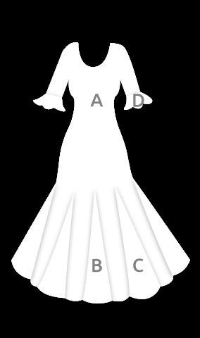 E4000 Vestido flamenca con manga de 3/4 vuelo de capa con 6 godets