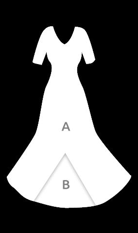 E4001 Vestido flamenca con escote con frunce y manga de 3/4 entalla a cadera y con godet trasero
