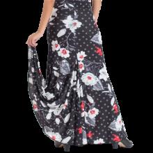Falda flamenca LYCRA estampada con 3 godes el posterior más alto EF118