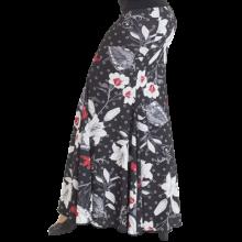 Falda estampada negra flor blanca 4 palas ajustada medio muslo EF320