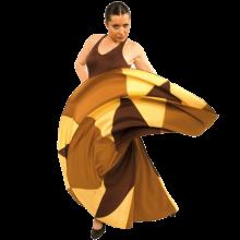 Vestido flamenca con amplio escote espalda y vuelo de 8 godets E4454