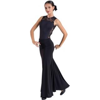 Falda negra con godet detrás y trincha EF340