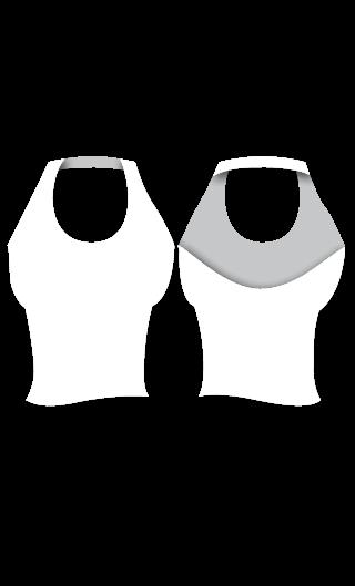 E4549 Camiseta atada al cuello ajustada y de escote redondo