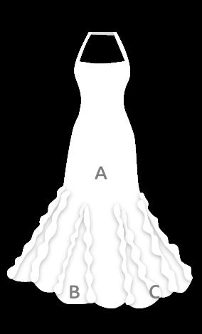 E3836 Vestido flamenca con escote palabra de honor con godés y chorreras
