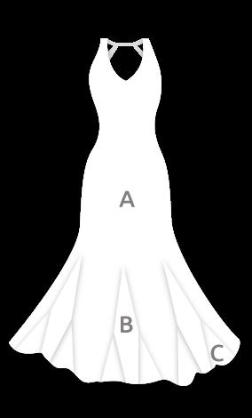 E4454 Vestido flamenca con amplio escote espalda y vuelo de 8 godets