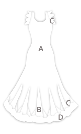 E4502 Vestido flamenca con volantes en las sisas y godés rematados con volante estampado