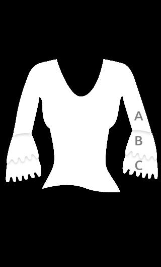 E4563 Camiseta flamenca con manga de 3/4 y doble volante