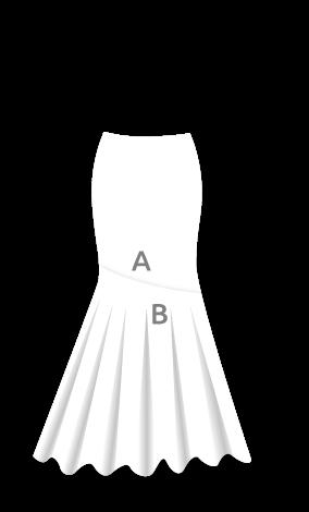 EF036 Falda flamenca con canesú en diagonal