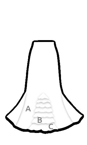 EF072 Falda flamenca ajustada con colín de 6 volantes
