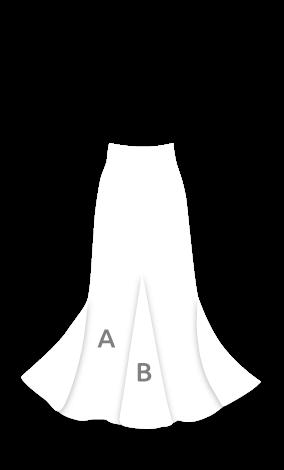 EF118 Falda flamenca con 3 godes el posterior más alto