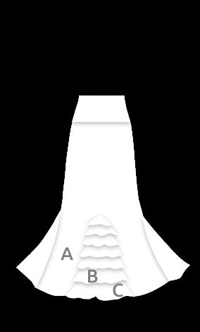 EF122 Falda estampada para baile con 3 godets, 8 volantes traseros