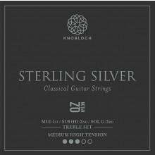 25792 Knobloch Sterling Silver QZ Nylon Treble Set Tensión Media-Fuerte
