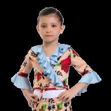 Chaqueta flamenca estampada corta de cintura con volantes E4259