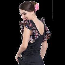 Camiseta estampada para flamenco con doble volante en las sisas E4559