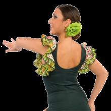 Camiseta mujer para flamenco con doble volante en las sisas E4559