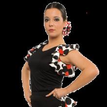 Camiseta flamenca escote en pico con doble volante E4165