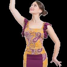 Camiseta ESTAMPADA escote amplio baile flamenco volante en sisas E4562