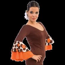 Camiseta flamenca con manga de 3/4 y doble volante E4563