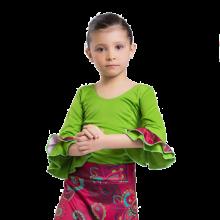 Cuerpo para niña con manga al codo y dos volantes E4740
