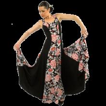 Vestido flamenca estampado escote redondeado con vuelo 3 capas E3744