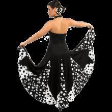 Vestido flamenca atado al cuello con vuelo capa y media y godés estampados E3796