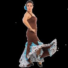 Vestido flamenca con escote palabra de honor con godés y chorreras E3836