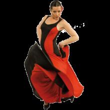 Vestido flamenco con escote redondo y tirante ancho mucho vuelo E3838
