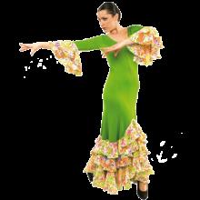 E4505 Vestido flamenca con 3 volantes y dos en las mangas