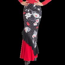 Falda flamenco LYCRA estampada con volante en diagonal EF130