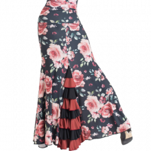 Falda estampada flores ajustada 3 palas 8 volantes EF331