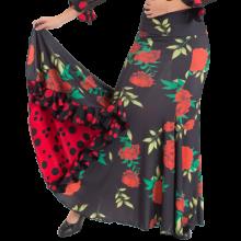 Falda estampada negra flores godet lateral con volante EF343