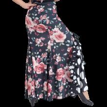 Falda estampada negra flores salmón godet lateral con volante EF343