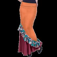 Falda flamenco con trincha entallada a medio muslo y volante en diagonal EF130 combinando punto liso y estampado