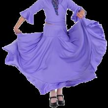 Falda niña monocolor con canesú, vuelo de capa y volante 147M