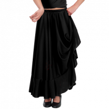Falda negra con vuelo de capa desde cintura y 1 volante EF057