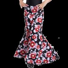 Falda estampada para niña con 3 godets entallada a medio muslo EF129