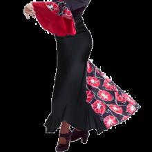 Falda flamenca con 3 godets entallada a medio muslo EF129