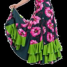 Falda estampada para niña de 7 palas, 7 godets y volantes en diagonal EF198
