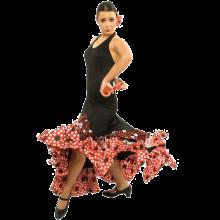 Vestido flamenca con 3 volantes subidos en pico E4430