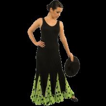 Vestido flamenca con escote ovalado entalla a cadera con godés E4442