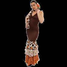 Vestido flamenca con espalda descubierta y tirante cogido al cuello E4493
