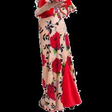 Falda flamenca para niña estampada entallada a medio muslo con godet trasero E3953