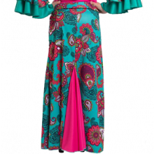 Falda flamenca estampada entallada a medio muslo con godet trasero E3953