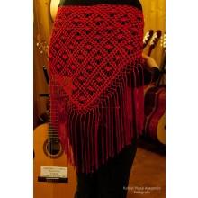 Mantón artesanal rojo de flecos