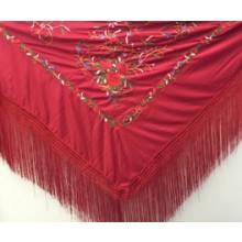 Mantón para baile flamenco de color rojo