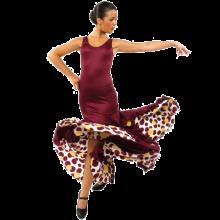 Vestido flamenca de tirante ancho con vuelo de capa y media E4078