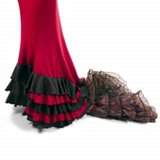 """Detalle Falda de Cola """"Canela Pura"""" Rojo y negro"""