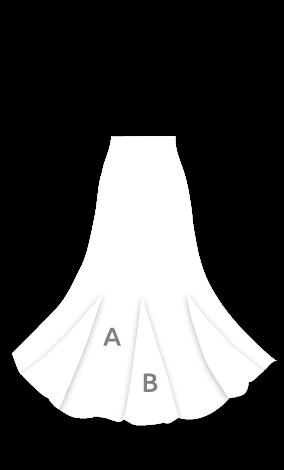 135 Falda flamenca de nesgas con godets