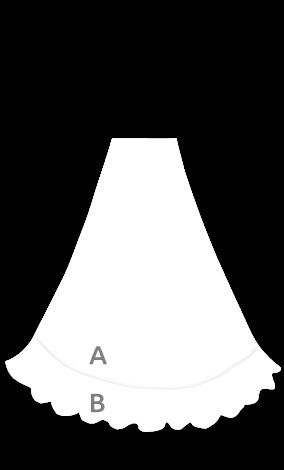 143 Falda flamenca de nesgas con vuelo de capa y 1 volante