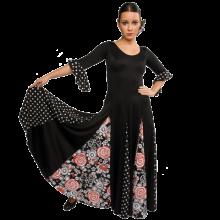 Vestido flamenca con manga de 3/4 vuelo de capa con 6 godets E4000